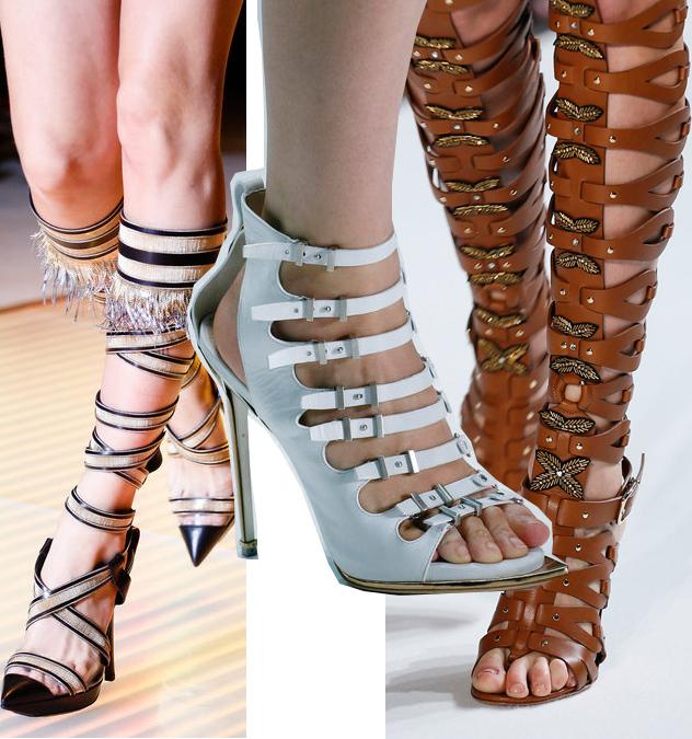 Spring 2013 Gladiator Shoes Trend: Versace// Roberto Cavalli// Altuzarra