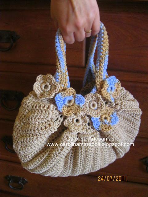 Bolso Tejido A Mano Crochet Beige Celeste Forrada