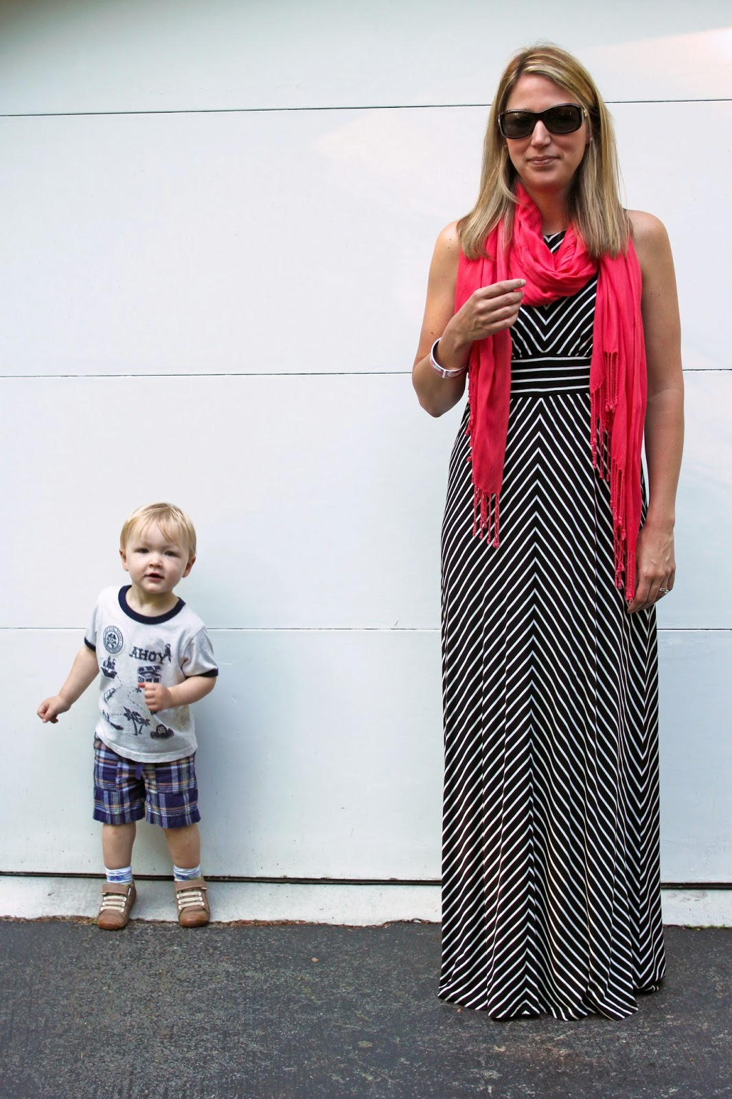LOFT Striped Maxi Dress + Pink Scarf // The Salty Hanger