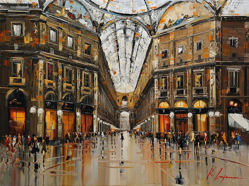15-Duomo-Milano-Galleria-Kal-Gajoum-Paintings-of-Dream-Like Cities-of-the-World-www-designstack-co