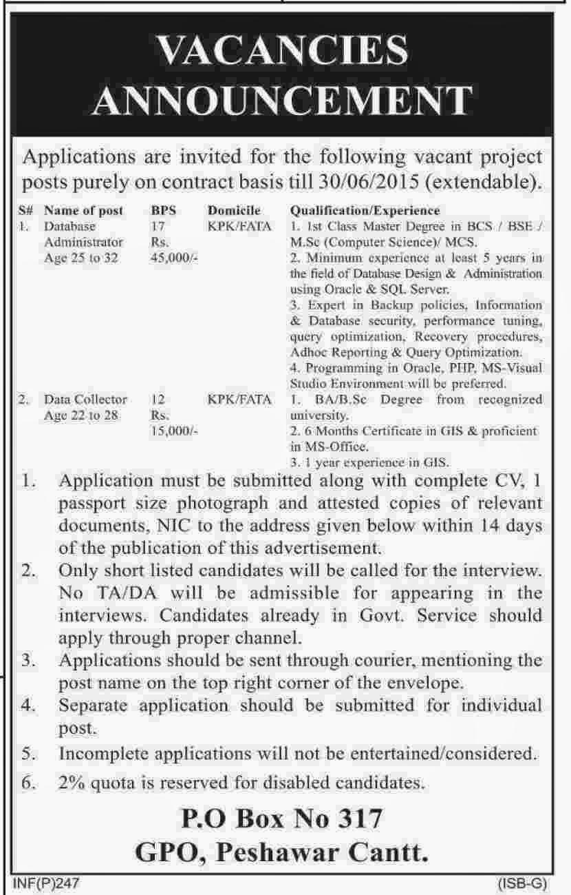 Latest Govt Jobs in Peshawar KPK Pakistan