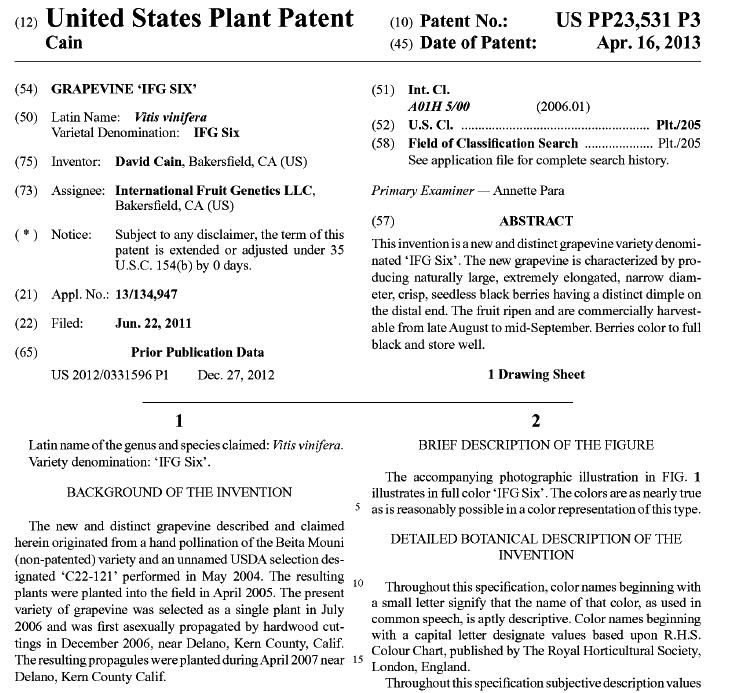 """ブドウ品種 """"Moon Drop"""" (IFG Six)<br> に関するUS特許"""