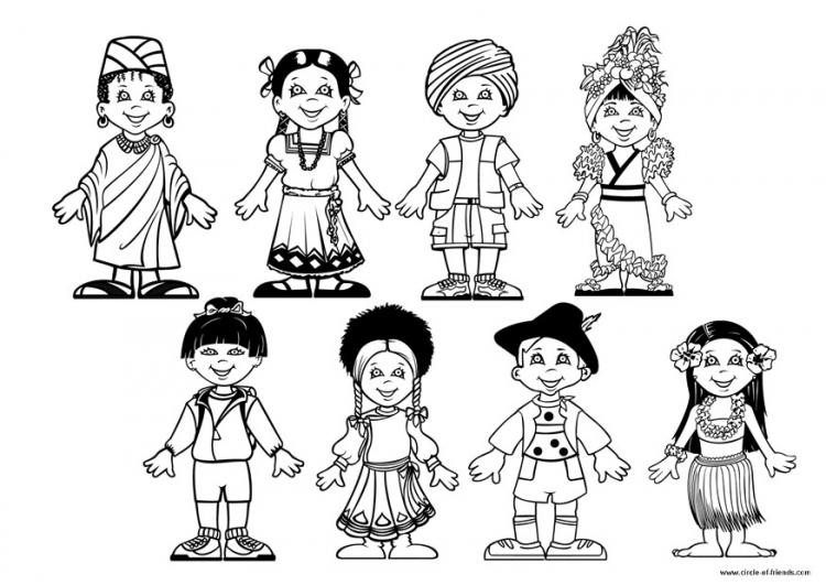 Imagenes niños del mundo para colorear - Imagui