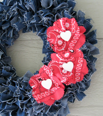 Tie Denim Strips into a Wonderful Wreath