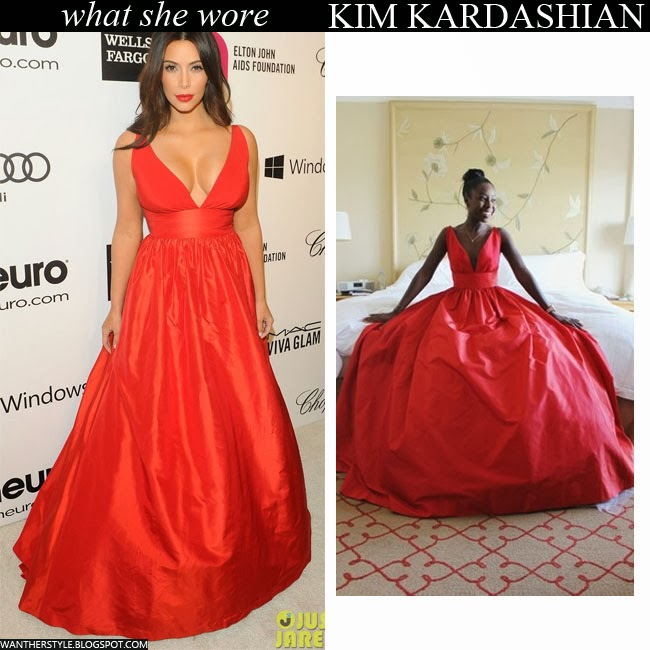 Kim Kardashian in red plunging gown by Celia Kritharioti Oscar Party 2014 Want Her Style