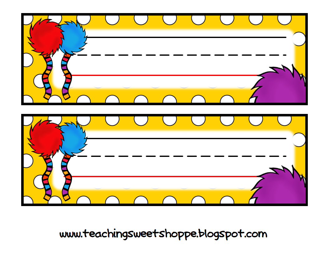 The teaching sweet shoppe dr seuss themed nametags for Dr name tag template