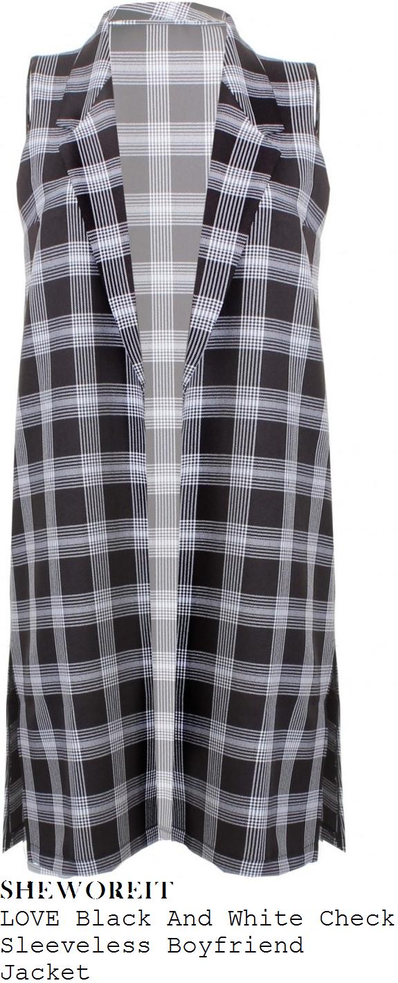 rochelle-humes-black-and-white-tartan-check-print-sleeveless-waistcoat-jacket-bbc-studios