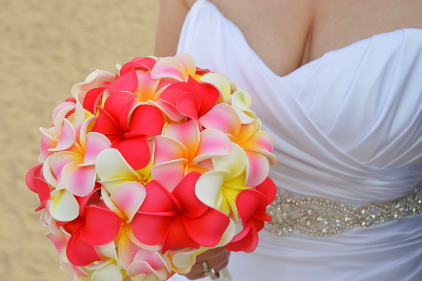 Hawaii Wedding Flowers Pink Yellow Plumeria Bouquet