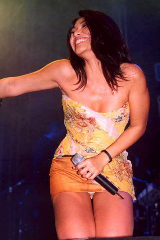 Anggun Looks Sexy On Stage With Her Underwear