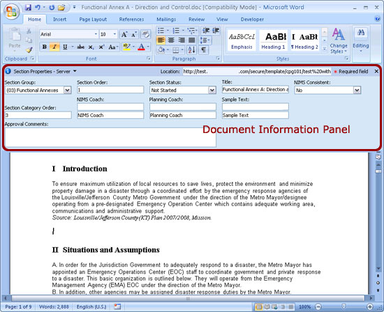 how to add docment panel