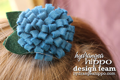 Felt_Pom Pom Bow_Leaves_Blue Flower