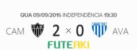 O placar de Atlético-MG 2x0 Avaí pela 24ª rodada do Brasileirão 2015