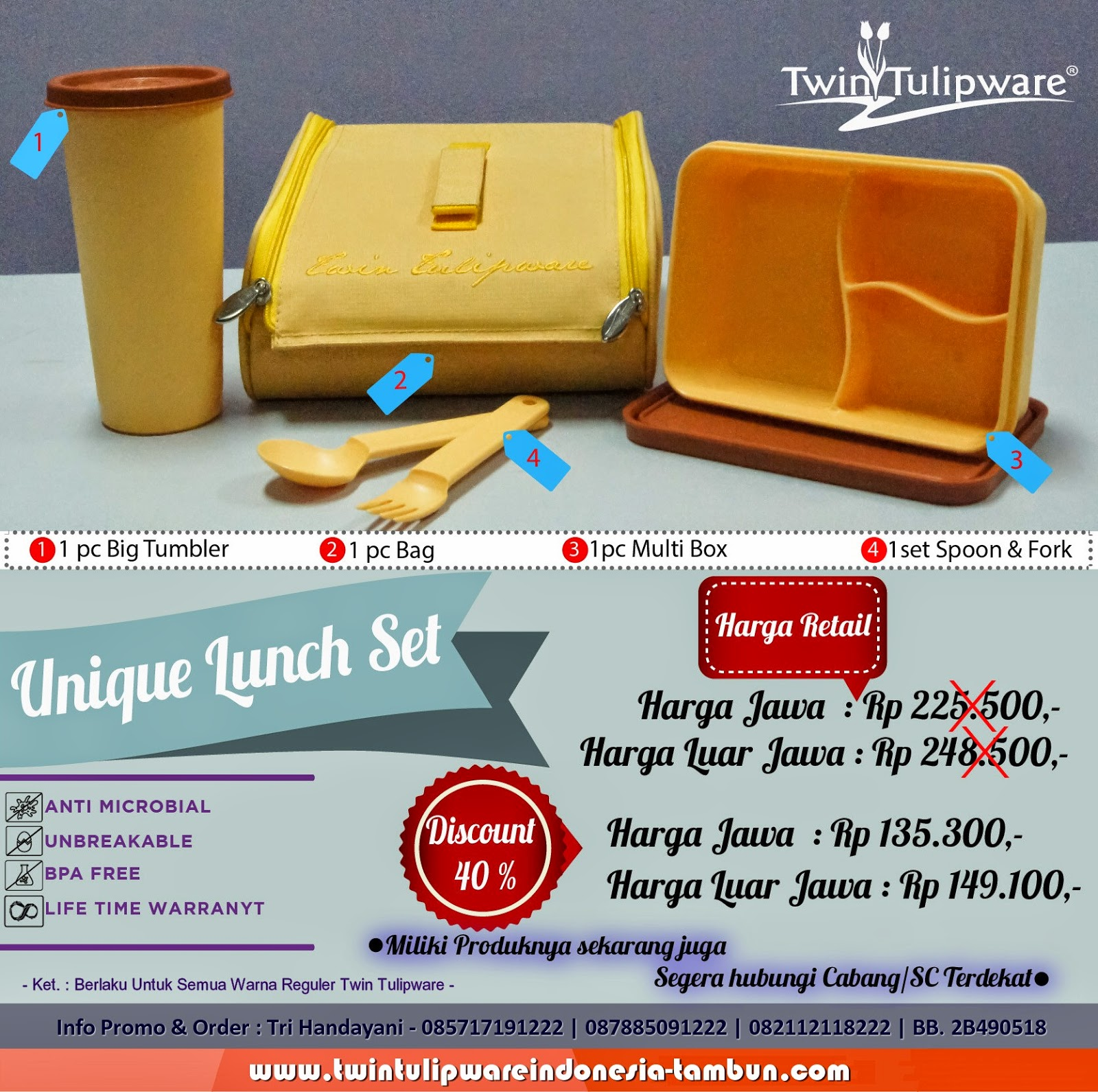 Unique Lunch Set - Produk Baru Tulipware 2014 >> Diskon 40%