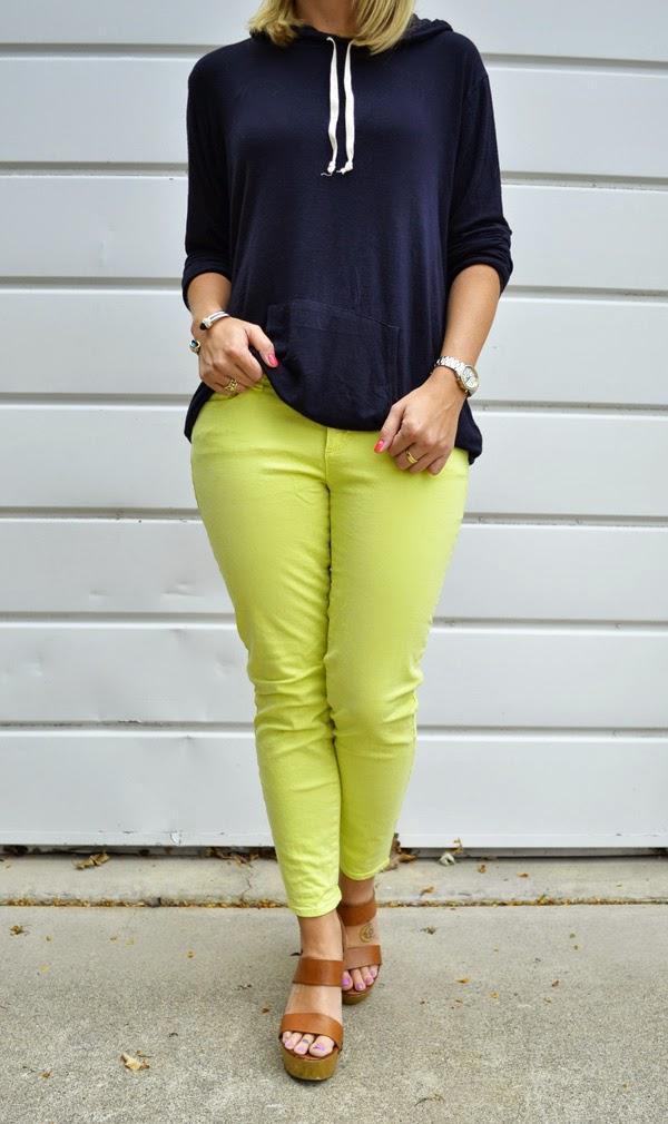 Brandy Melville sweatshirt, Ann Taylor yellow jeans, Shoemint