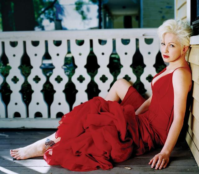 Cyndi Layper, red dress, 5 stars