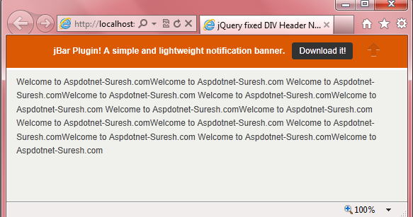 Jquery fixed div header notification bar on scroll with fade in out effects asp net c net vb - Jquery scroll to div ...