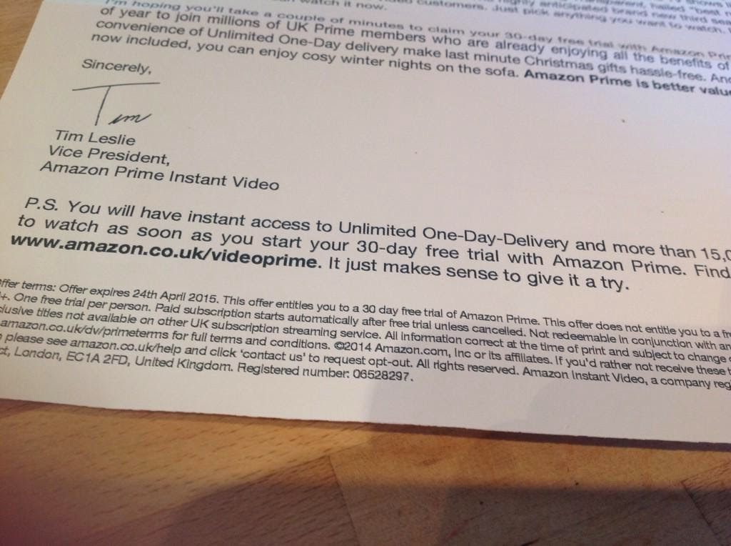 small print on a letter from amazon