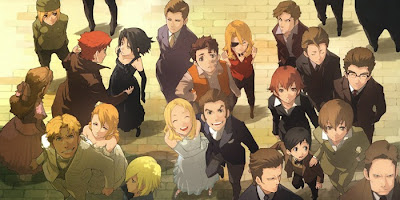 Most of the main cast of Baccano!, standing around, goofing off.
