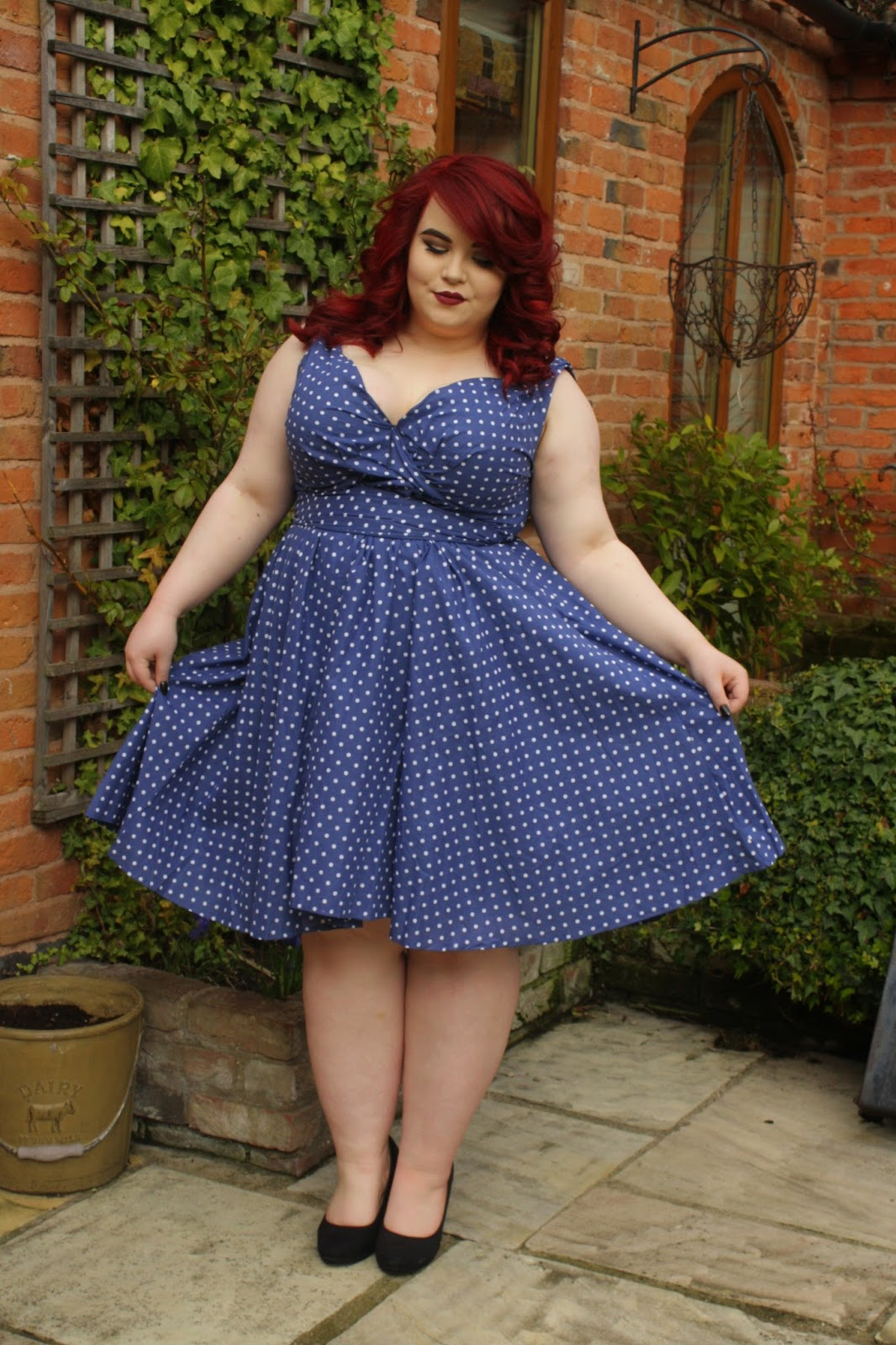 BBW Couture Blue Polka Dot 1950s Vintage Party Dress, vintage plus size, plus size fashion blogger, georgina grogan, shemightbeloved