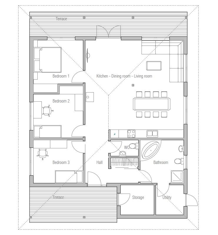 Affordable home plans economical home plan ch5 for Affordable floor plans