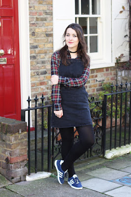 Black dungaree dress ASOS
