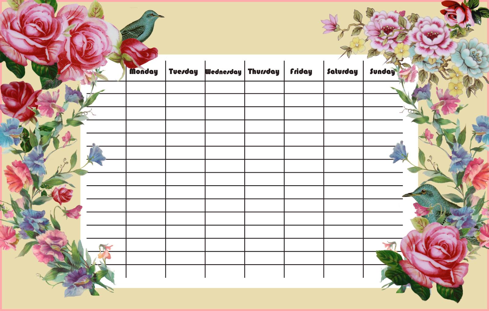 free printable joyous schedule in vintage style - ausdruckbarer ...