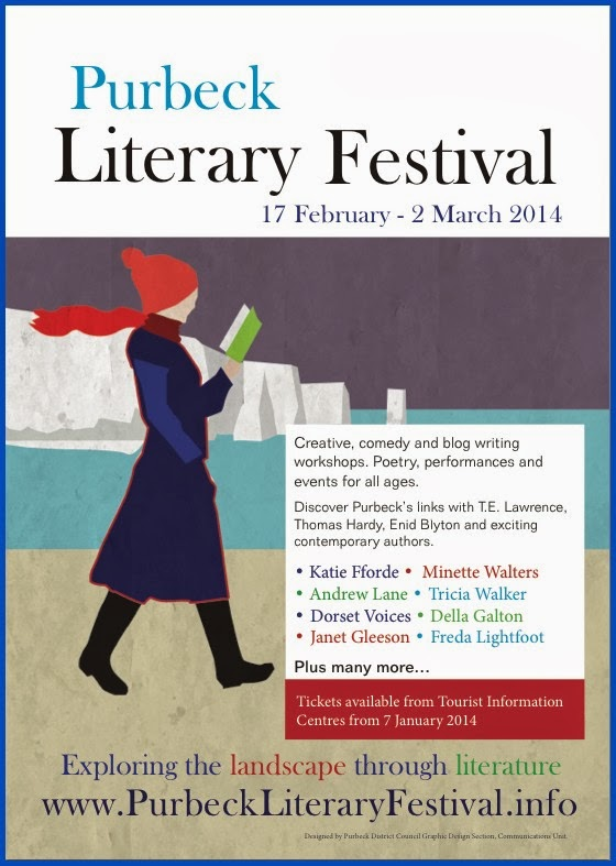 Poster advertising Purbeck Literary Festival
