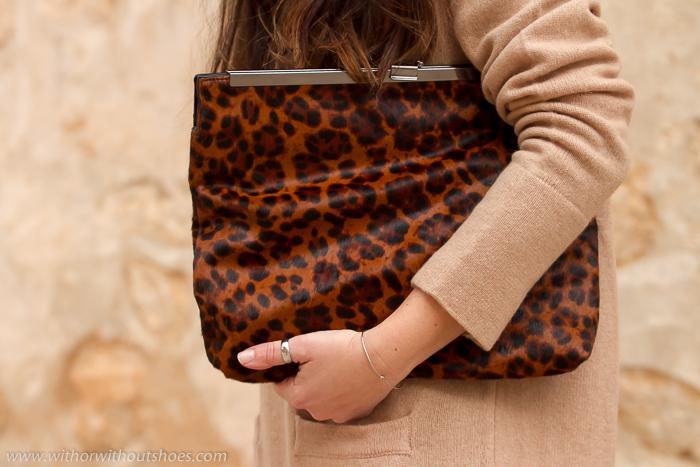 Bolso de mano de Zara en Animal print y piel