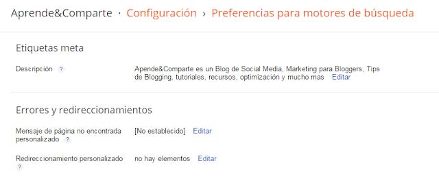 configuracion blogger preferencia en motores de busqueda