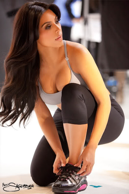Kim Kardashian In Skechers Advertisement Shoot
