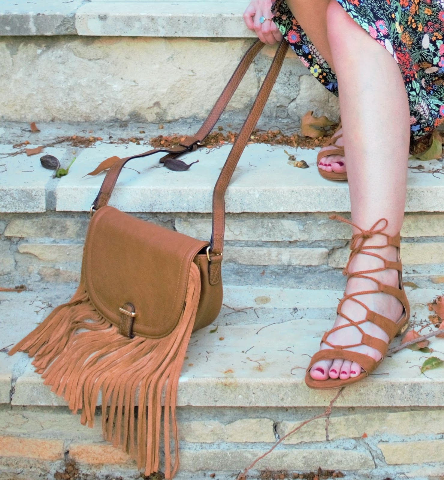 Topshop fringed Boho bag and lace-up sandals