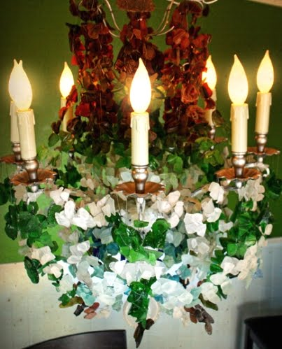 sea glass chandelier made with reclaimed materials