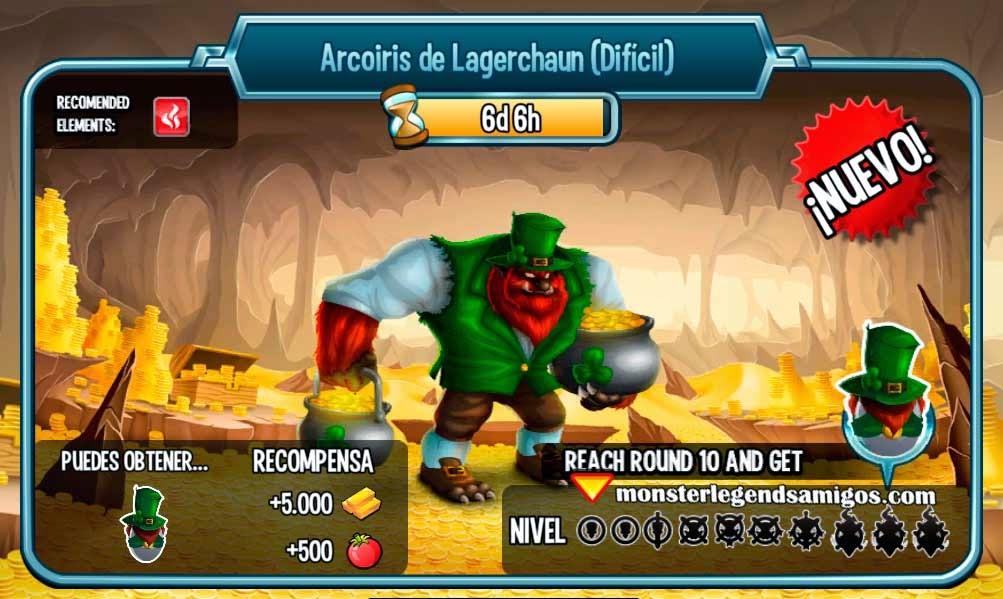 imagen de las batallas de la mazmorra arcoiris de lagerchaun de monster legends
