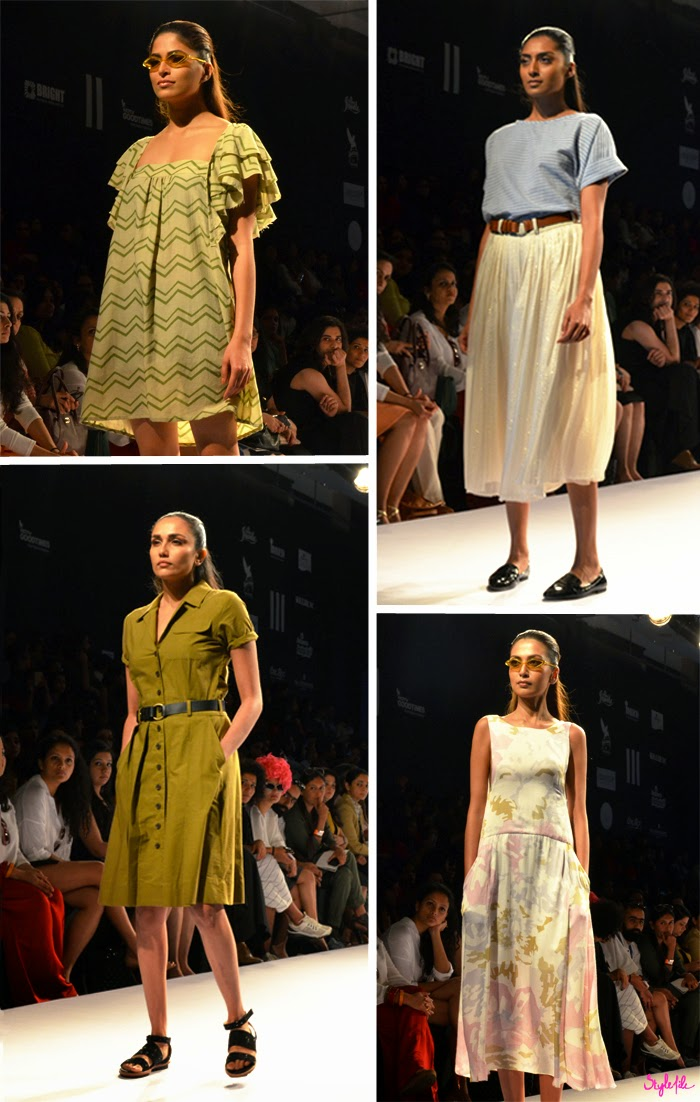 Models wear skirts, dresses, maxis with loose, flowing silhouettes for Shift by Nimish Shah on runway at Lakme Fashion Week Summer Resort 2015