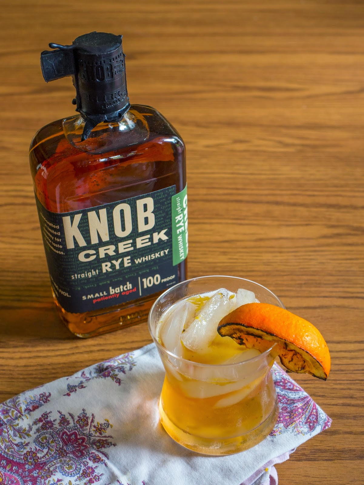 knob creek® rye whiskey old fashioned with grilled orange