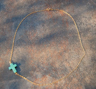 Turquoise and Gold Cross Necklace by Gypsy Sol Etsy
