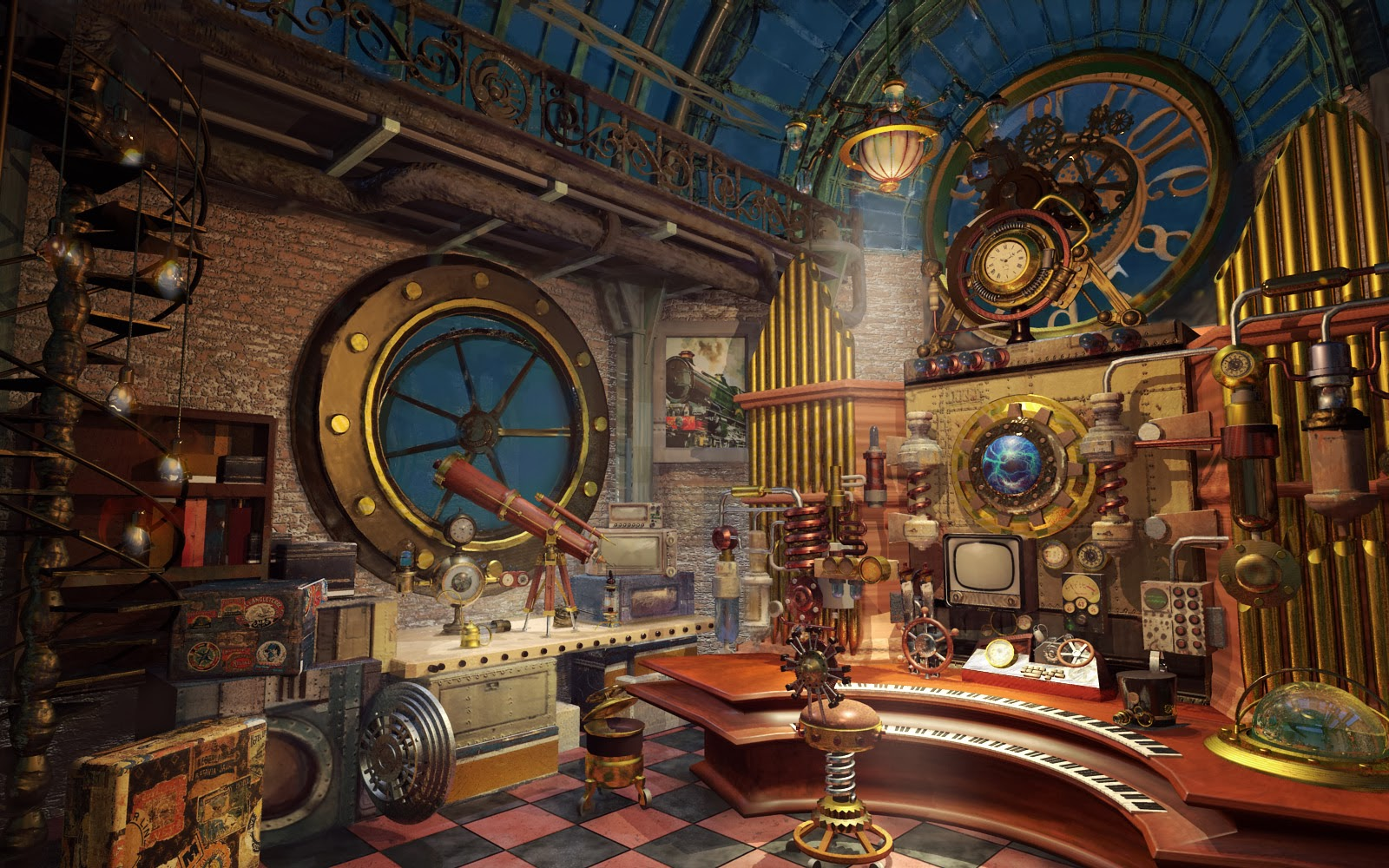 Giovani 39 s concept art illustration Steampunk interior