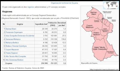 Mapa de la organización política de GUYANA, nombre de las regiones