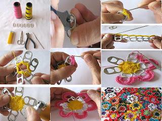chapas de latas para hacer flores Fotos de reciclaje