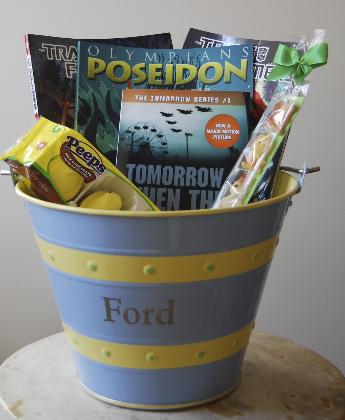 One great book easter book baskets basket for my fourteen year old son who is too old but doesnt want to miss out on the books and chocolate bunny negle Images