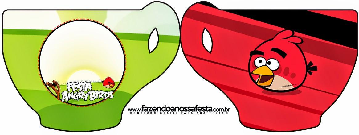 Tarjeta con forma de taza de Angry Birds.