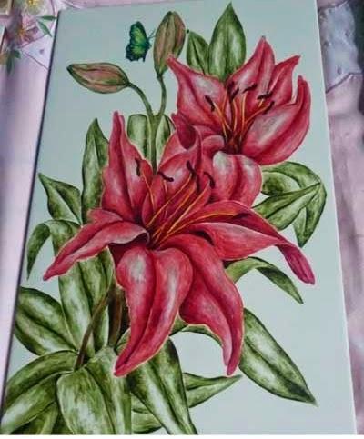 cerâmica com pintura acrílica de lírios
