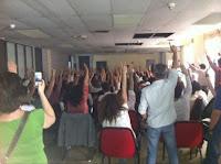 Protestas de los trabajadores de la SER por el ERE en Prisa