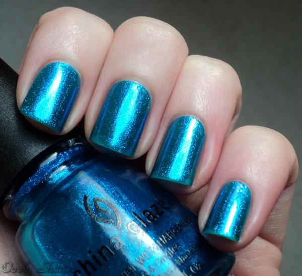 china glaze blue iguana oooh shinies watermarble ...