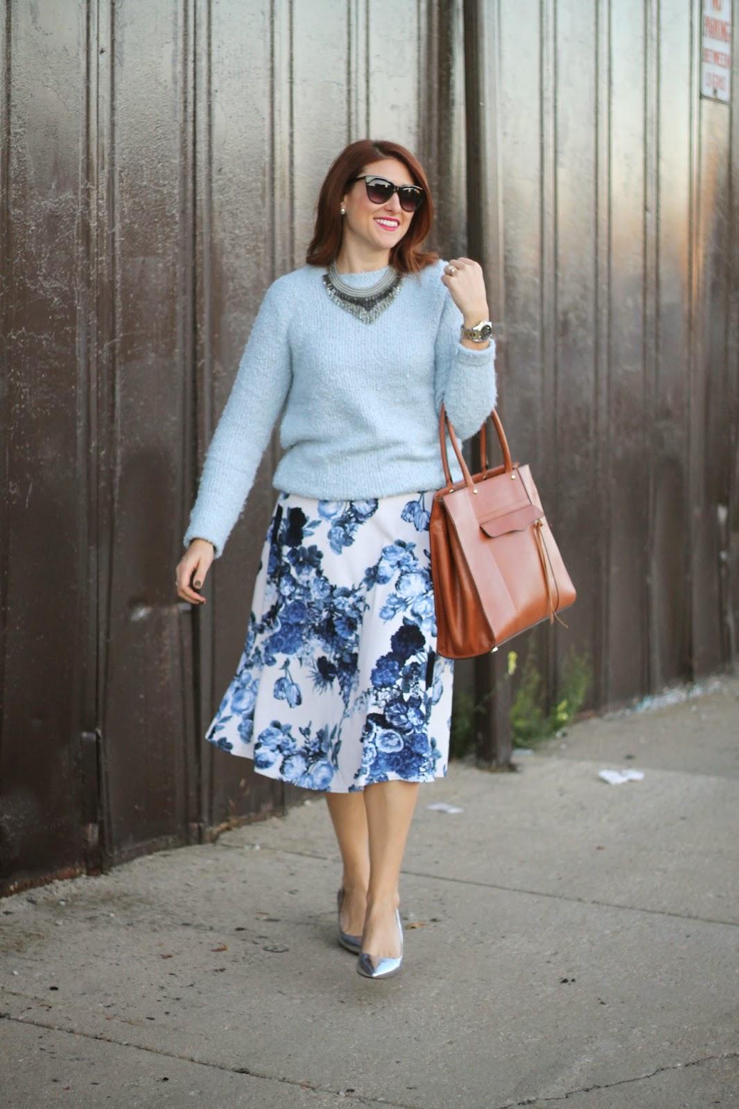 blue, floral, midi, skirt