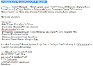 Lowongan Kerja PT. ARIMA KARYA PROPERTI Pekanbaru