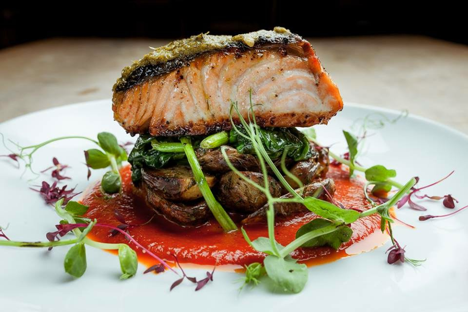 salmon with pea shoots and tomato coulis