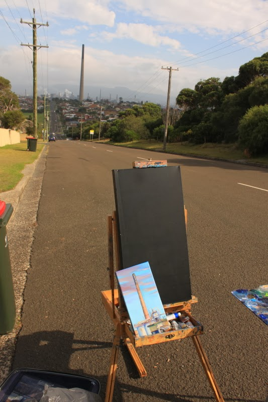Urban decay - plein air oil painting of the Port Kembla Copper stack by industrial heritage artist Jane Bennett