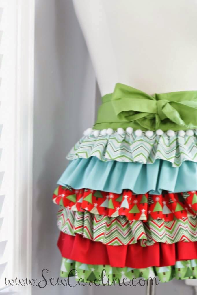 Holiday Ruffly Apron, Skip To My Lou