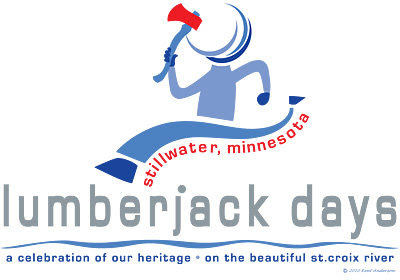 Lumberjack Days logo in blue and red